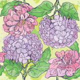 Floral Seamless Pattern with hand drawn flowers - gardenia and p