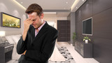 young caucasian businessman in a 3d rendered hotel