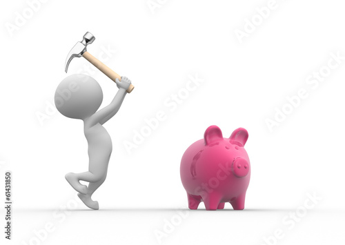 Breaking a piggy bank with a hammer