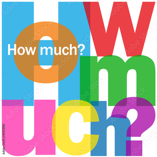 """HOW MUCH?"" Letter Collage (questions price cost quantity sale)"