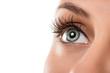 Leinwanddruck Bild - Close up of natural female eye isolated on white background