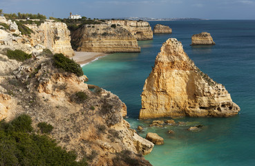 View on Praia da Marinha in Lagoa area, Algarve, Portugal.
