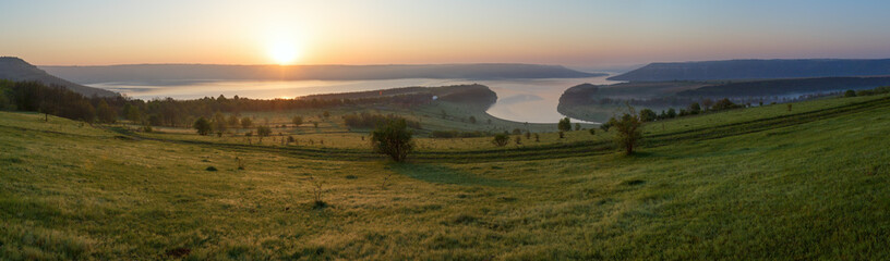 Bakota spring sunrise panorama (Ukraine)