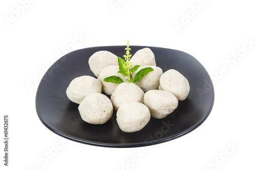 Dish of fish ball as appetizer  isolated on white