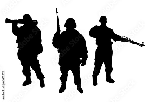 Set of soldiers silhouette