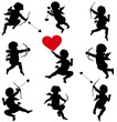 Cupid vector silhouettes set. Valentine's Day design