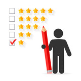 Check mark with red pencil on five star rating