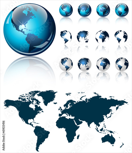 3d world map over the Earth Globe. 4 different views