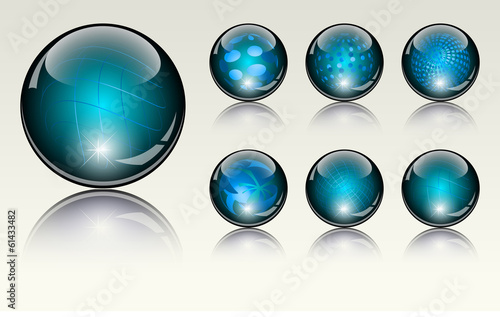 6 different crystal refracting spheres