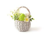 Easter eggs basket isolated