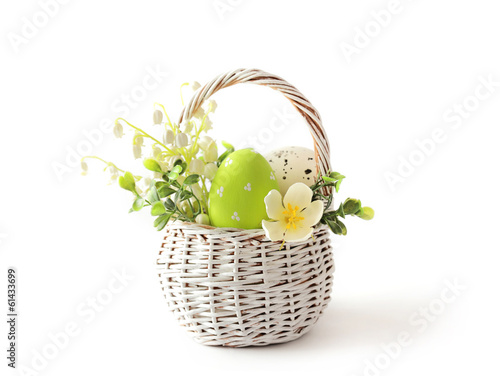 Easter eggs basket isolated - 61433699