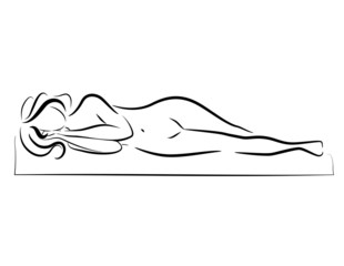 Vector silhouette of the sleeping woman.