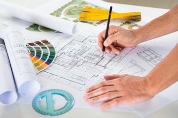 Draftsman Drawing Plan On Blueprint