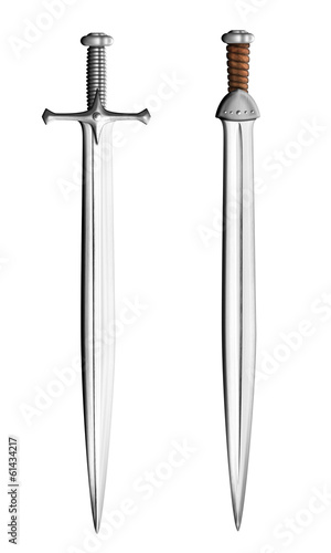 metal swords set isolated on white