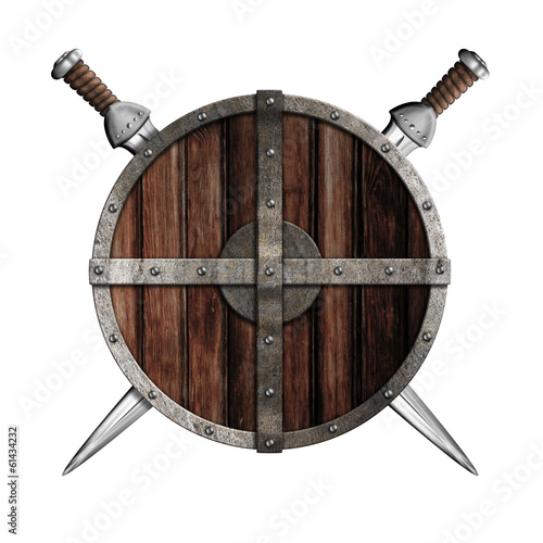 Two swords behind wooden round shield isolated - 61434232