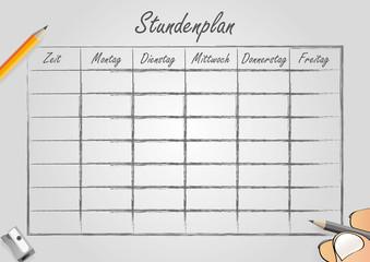 Stundenplan Schule Zeitplan Kalender grau