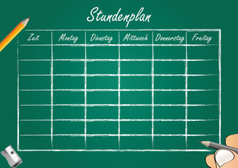 Stundenplan Schule Zeitplan Kalender grün