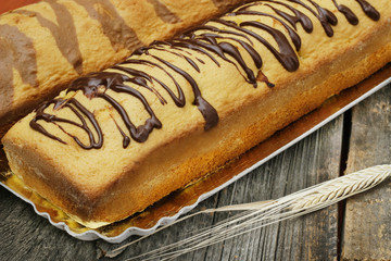 Banana bread decorated with chocolate