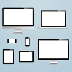 laptop, smartphone, tablet, computer, display on blue background