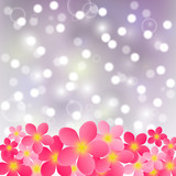 Pink flowers on shiny background