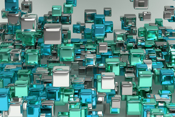 Abstract composition with shiny metallic cubes.