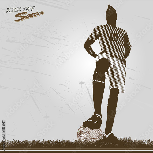 vintage soccer player kick off