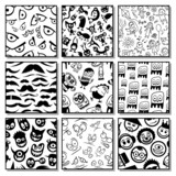 Set of funny seamless patterns.