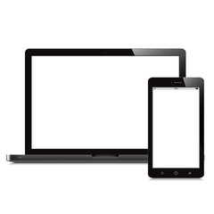 laptop and tablet blank screen white background