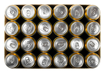 box of beer cans isolated on white