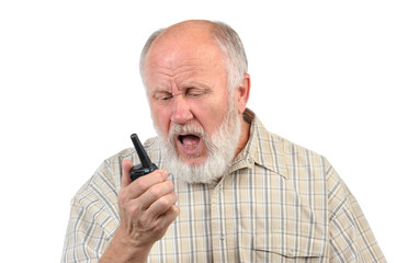 senior bald man talking using walkie-talkie