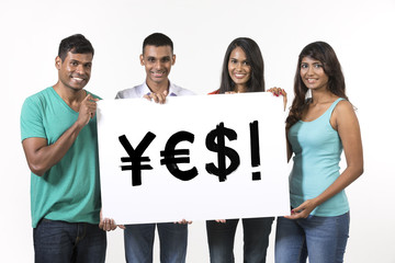 Indian people holding banners with currency symbols