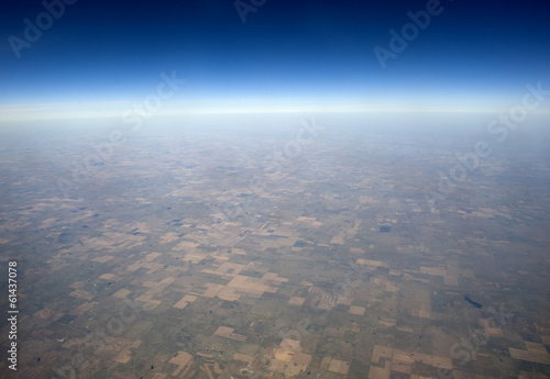 High altitude view of the Great Plains in the western US.