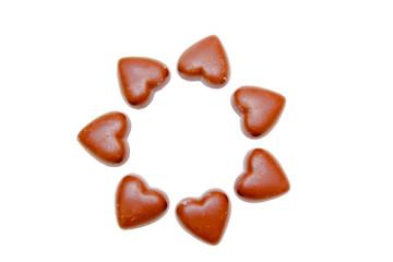 Cuoricini di cioccolato in cerchio