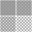 Seamless vector white polka dots grey pattern background set
