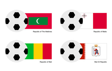 Soccer Ball with Maldives, Malta, Mali and Mari El Flag