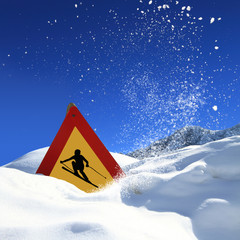 Ski sign covered in snow