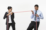 Two Indian business people playing tug war.