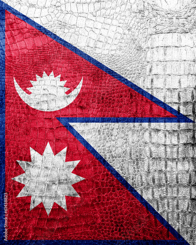 Nepal Flag painted on luxury crocodile texture