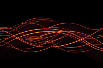 Bright fiery lines on black background