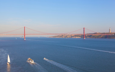 bridge on April 25 in Lisbon, Portugal