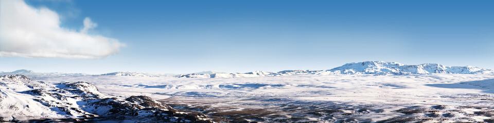 Icelandic ice desert landscape panorama 4x1 Ratio