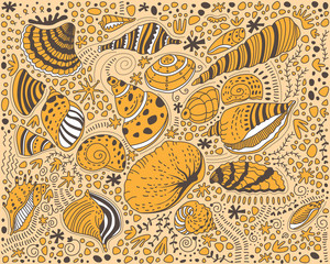 Pattern yellow seashells on a light background