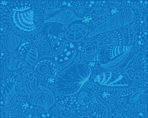 Pattern light blue seashells on a blue background