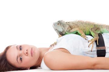 Girl and her iguana