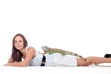 Girl with her iguana