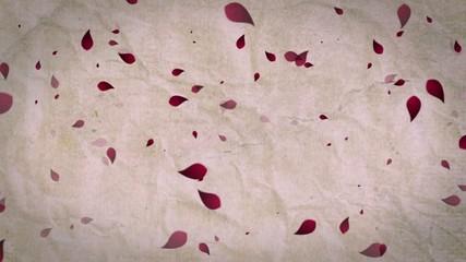 Foglie rosse su carta antica