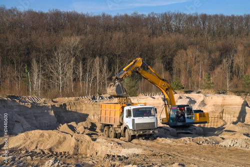 Loading sand in the sand pit