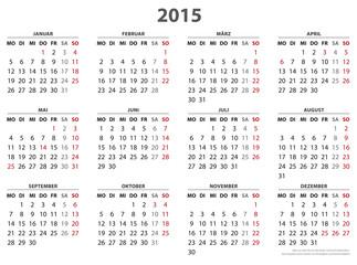 Kalender 2015, 16 Bundesländer in  AI-Format
