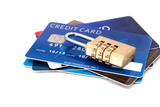 Credit cards and combination lock padlock.