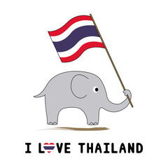 Elephant hold Thai flag5